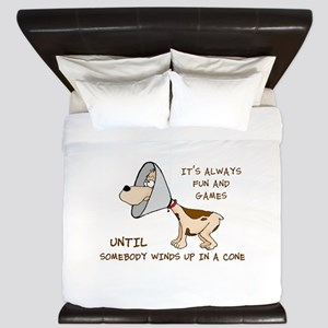dog cone larry font 2 King Duvet